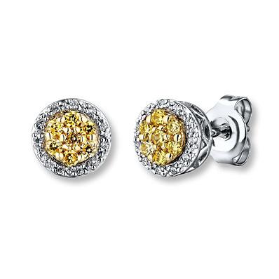 Kay Jewelers Yellow Diamond Earrings 1 4 Ct Tw Round Cut 10k Two Tone Gold Diamond Earrings