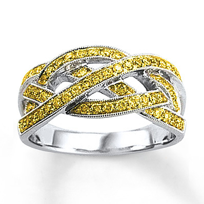 Kay Jewelers Yellow Diamond Ring 1/2 ct tw Round-cut Sterling Silver- Women's Diamond Fashion