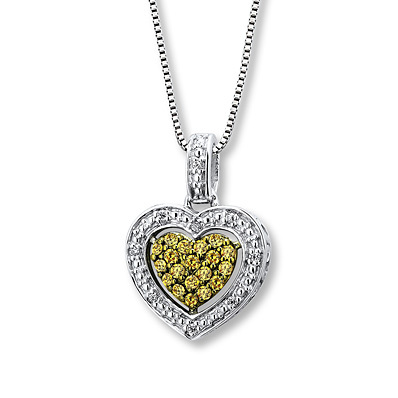 Kay Jewelers Yellow Diamond Necklace 1/6 ct tw Round-cut Sterling Silver- Diamond Necklaces & Pendants
