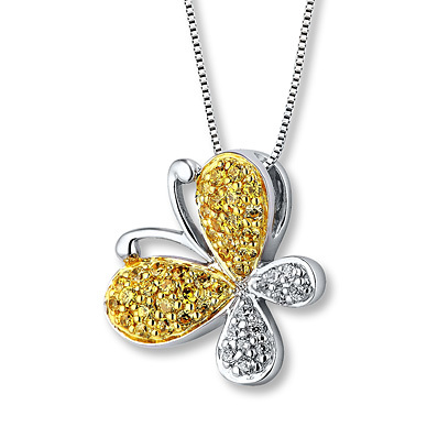 Kay Jewelers Butterfly Necklace 1/4 ct tw Diamonds Sterling Silver- Diamond Necklaces & Pendants