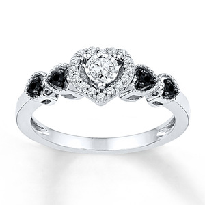 photo of Kay Jewelers Black/White Diamonds 1/5 ct tw Promise Ring Sterling Silver- Promise Rings