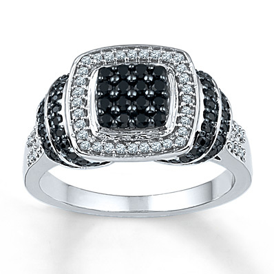 Kay Jewelers Black/White Diamond Ring 1/2 ct tw Round-cut Sterling Silver- Women's Diamond Fashion