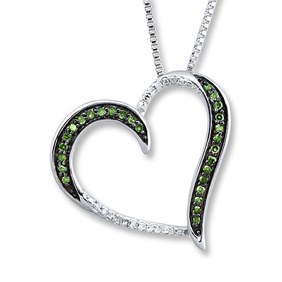 Kay Jewelers Green Heart Necklace 1/6 ct tw Diamonds Sterling Silver- Diamond Necklaces & Pendants