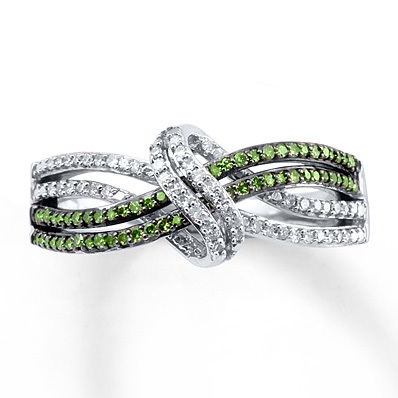 photo of Kay Jewelers Green Diamond Ring 1/4 ct tw Round-cut Sterling Silver- Diamond Rings