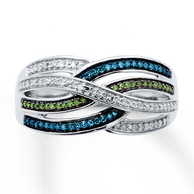 Kay Jewelers Blue/Green Diamonds 1/5 ct tw Ring Sterling Silver- Diamond Rings