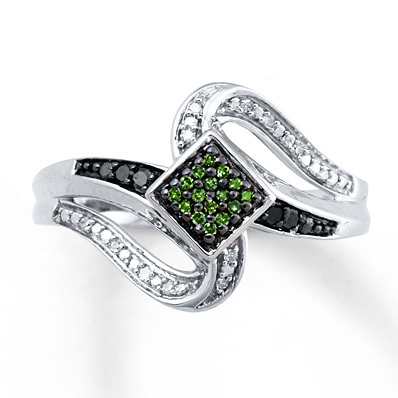 Kay Jewelers Green/Black Diamonds 1/10 ct tw Ring Sterling Silver- Diamond Rings