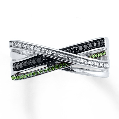 Kay Jewelers Green/Black Diamonds 1/6 ct tw Ring Sterling Silver- Diamond Rings