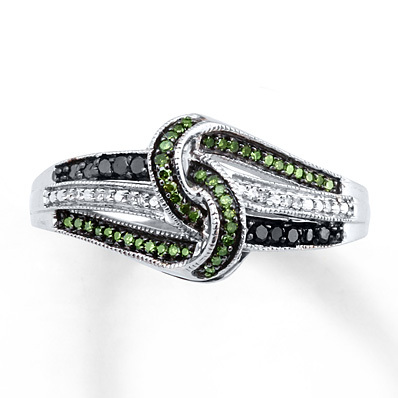 photo of Kay Jewelers Green/Black Diamonds 1/5 ct tw Ring Sterling Silver- Diamond Rings