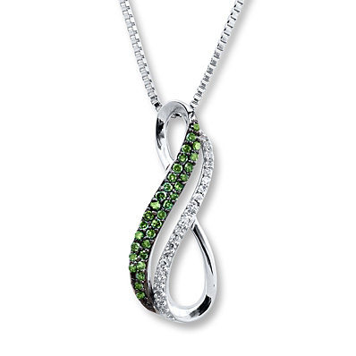 Kay Jewelers Green Diamond Necklace 1/6 ct tw Round-cut Sterling Silver- Diamond Necklaces & Pendants