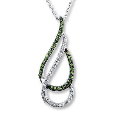 Kay Jewelers Green Diamond Necklace 1/5 ct tw Round-cut 10K White Gold- Diamond Necklaces & Pendants