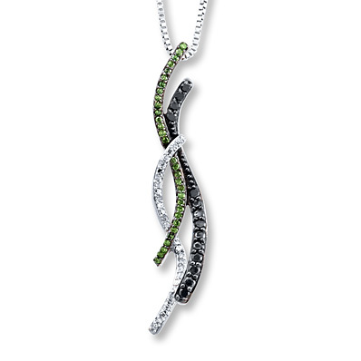 Kay Jewelers Black/Green Diamonds 1/5 ct tw Necklace Sterling Silver- Diamond Necklaces & Pendants