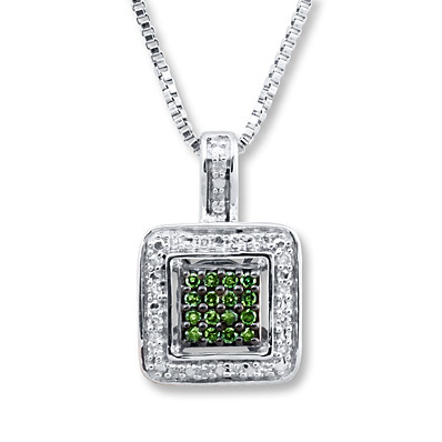 Kay Jewelers Green Diamond Necklace 1/10 ct tw Round-cut Sterling Silver- Diamond Necklaces & Pendants