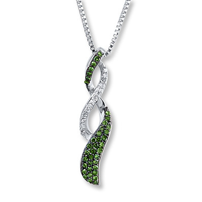 Kay Jewelers Green Diamond Necklace 1/5 ct tw Round-cut Sterling Silver- Diamond Necklaces & Pendants