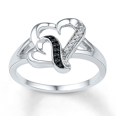 Kay Jewelers Diamond Heart Ring 1/20 ct tw Round-cut  Sterling Silver- Diamond Rings