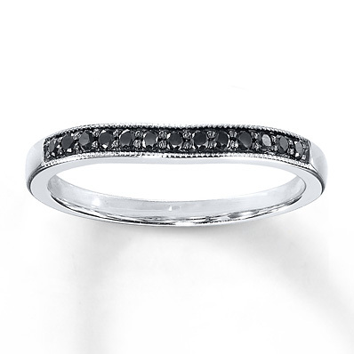 Kay Jewelers Black Diamonds 1/8 ct tw Wedding Band 10K White Gold- Wedding Bands