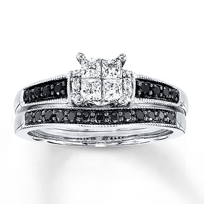 Kay Jewelers Black/White Diamonds 1/2 ct tw Bridal Set 10K White Gold- Engagement Rings