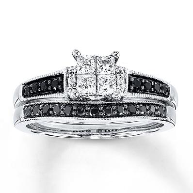 photo of Kay Jewelers Black/White Diamonds 1/2 ct tw Bridal Set 10K White Gold- Engagement Rings
