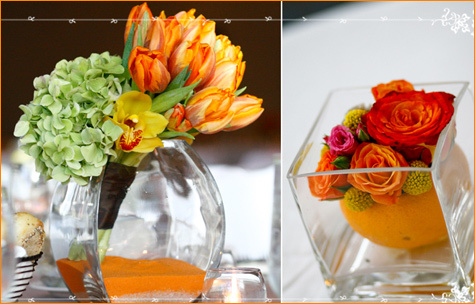Beautiful details, with a pop or green and orange sand in glass hurricane vase
