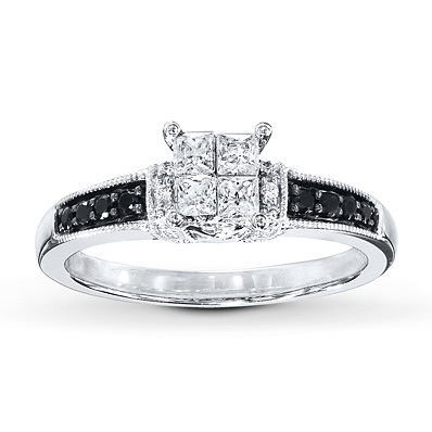 Kay Jewelers Black/White Diamonds 1/2 ct tw Engagement Ring 10K White Gold- Engagement Rings