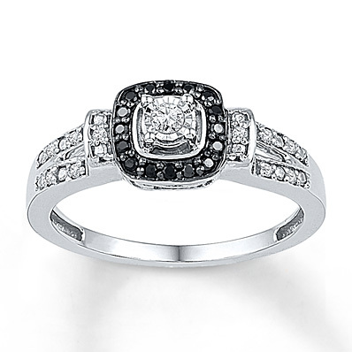 Kay Jewelers Diamond Promise Ring 1/5 ct tw Black/White Sterling Silver- Promise Rings