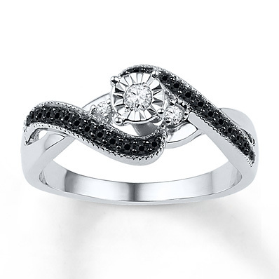 Kay Jewelers Diamond Promise Ring 1/4 ct tw Black/White Sterling Silver- Promise Rings