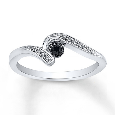 Kay Jewelers Diamond Promise Ring 1/6 ct tw Black/White Sterling Silver- Promise Rings