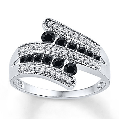 Kay Jewelers Black/White Diamond Ring 1/2 ct tw Round-cut Sterling Silver- Diamond Rings