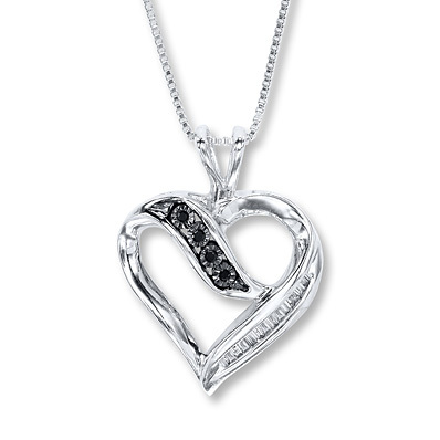 Kay Jewelers Diamond Heart Necklace 1/10 carat tw  Sterling Silver- Diamond Necklaces & Pendants