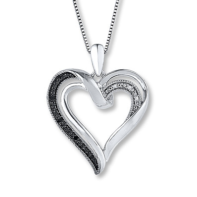 Kay Jewelers Heart Necklace Black/White Diamonds Sterling Silver- Diamond Necklaces & Pendants