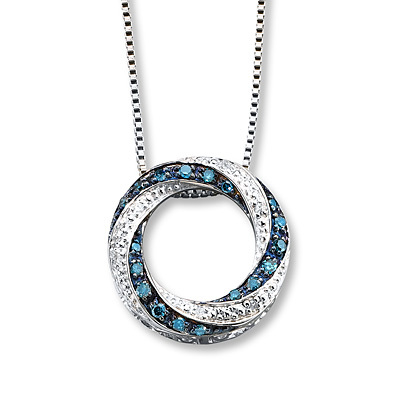 Kay Jewelers Blue/White Diamonds 1/5 Carat tw Sterling Silver Necklace- Diamond Necklaces & Pendants