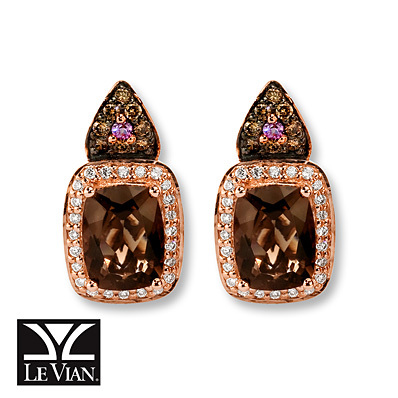 Kay Jewelers Chocolate Quartz Earrings 1/3 ct tw Diamonds 14K Gold- Earrings