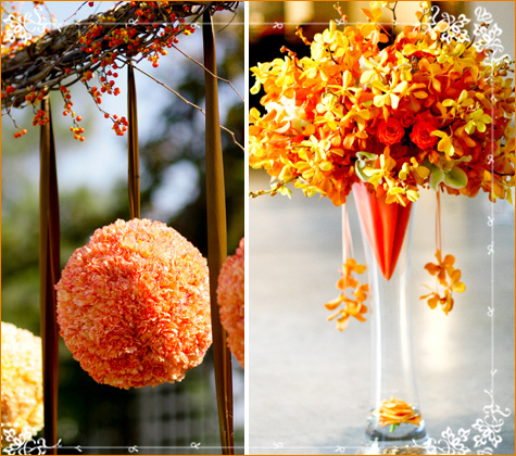 Hanging orange floral ball, beautiful clear vase with yellow, red, orange flowers