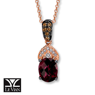 Kay Jewelers Rhodolite Garnet Necklace 1/5 ct tw Diamonds 14K Gold- Garnet