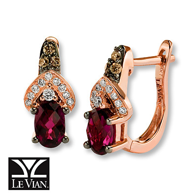 Kay Jewelers Rhodolite Garnet Earrings 1/5 ct tw Diamonds 14K Gold- Garnet
