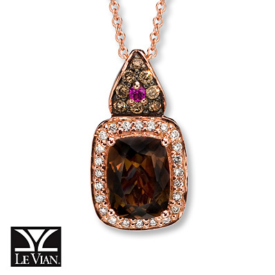 Kay Jewelers Chocolate Quartz Necklace 1/6 ct tw Diamonds  14K Gold- Sapphire
