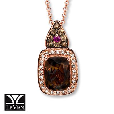 photo of Kay Jewelers Chocolate Quartz Necklace 1/6 ct tw Diamonds  14K Gold- Sapphire