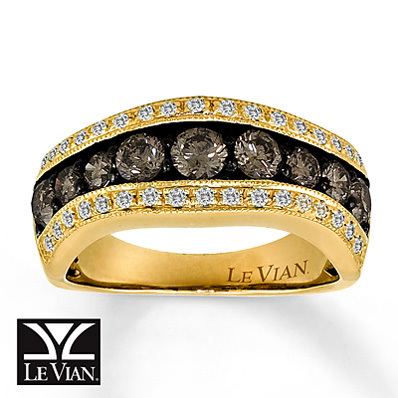 Kay Jewelers Chocolate Diamonds  Ring  1 1/3 ct tw Round-Cut 14K Honey Gold - Fashion Rings
