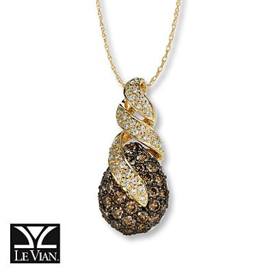 photo of Kay Jewelers Chocolate Diamonds  1 1/8 ct tw Necklace 14K Honey Gold - More
