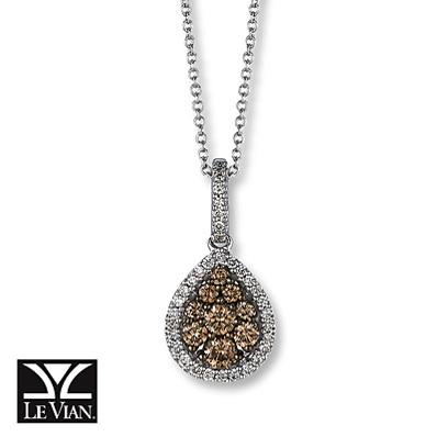photo of Kay Jewelers Chocolate Diamonds  1/2 ct tw Necklace 14K Vanilla Gold - More