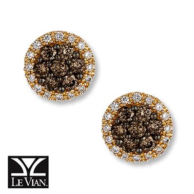 photo of Kay Jewelers Chocolate Diamonds  5/8 ct tw Earrings  14K Honey Gold - More