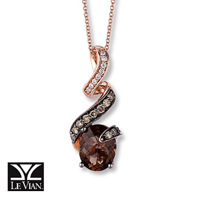 Kay Jewelers Chocolate Quartz Necklace 1/4 ct tw Diamonds 14K Gold- More Gemstones