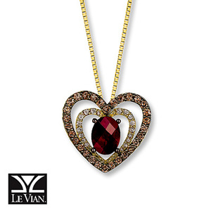 photo of Kay Jewelers Rhodolite Garnet Necklace 5/8 ct tw Diamonds 14K Honey Gold - Garnet