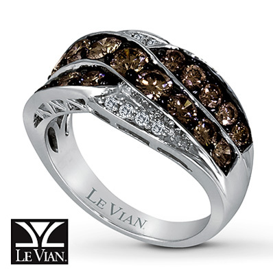 Kay Jewelers Chocolate Diamonds  Ring 1 3/4 cttw Round-Cut 14K Vanilla Gold - Ladies' Diamond Fashion