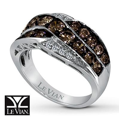 photo of Kay Jewelers Chocolate Diamonds  Ring 1 3/4 cttw Round-Cut 14K Vanilla Gold - Ladies' Diamond Fashion