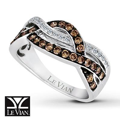 photo of Kay Jewelers Chocolate Diamonds  Ring 1/2 ct tw Round-cut 14K Vanilla Gold - Ladies' Diamond Fashion