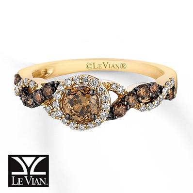 photo of Kay Jewelers Chocolate Diamonds  Ring 3/4 ct tw Round-cut 14K Honey Gold - Ladies' Diamond Fashion