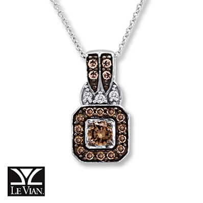 Kay Jewelers Chocolate Diamonds  1/2 ct tw Necklace 14K Vanilla Gold - More
