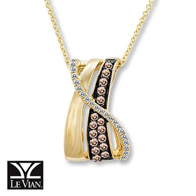 photo of Kay Jewelers Chocolate Diamonds  3/8 ct tw Necklace 14K Honey Gold - More