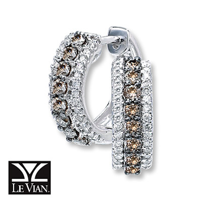 photo of Kay Jewelers Chocolate Diamonds  3/4 ct tw Round-Cut Hoops 14K Vanilla Gold - Hoops