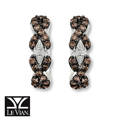 Kay Jewelers Chocolate Diamonds  5/8 ct tw Earrings 14K Vanilla Gold - Hoops